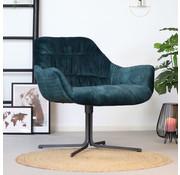 Bronx71 Moderne velvet fauteuil Lizzy donkerblauw