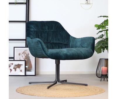 Bronx71 Moderne velvet fauteuil Lizzy draaibaar donkerblauw