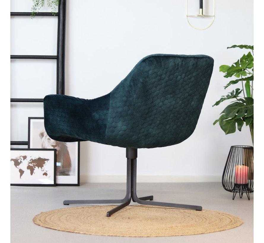 Moderne velvet fauteuil Lizzy draaibaar donkerblauw