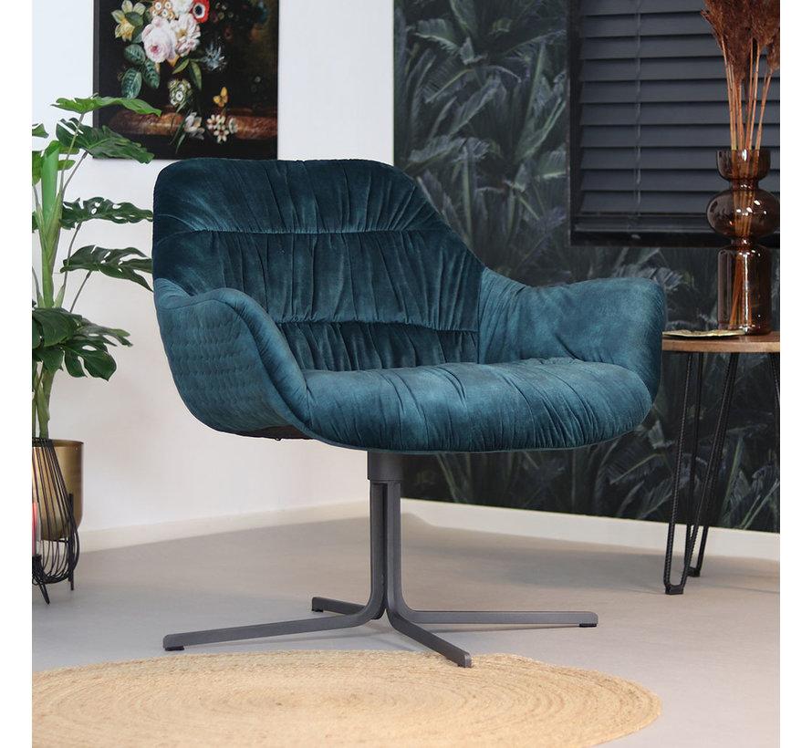 Velvet fauteuil Lizzy draaibaar donkerblauw