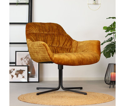 Bronx71 Moderne velvet fauteuil Lizzy draaibaar okergeel