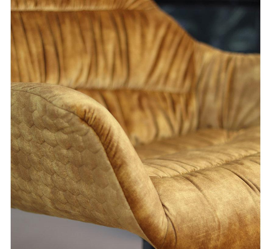 Velvet fauteuil Lizzy draaibaar okergeel