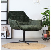 Bronx71 Moderne velvet fauteuil Lizzy donkergroen