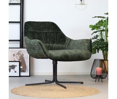 Bronx71 Moderne velvet fauteuil Lizzy draaibaar donkergroen