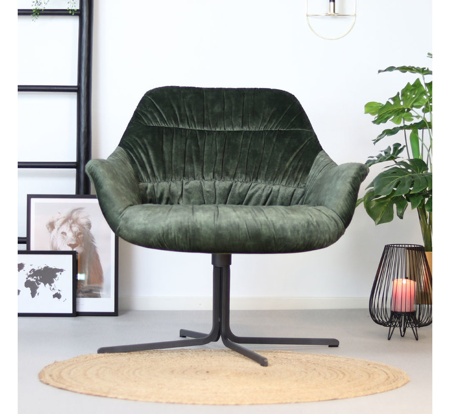 Moderne velvet fauteuil Lizzy draaibaar donkergroen