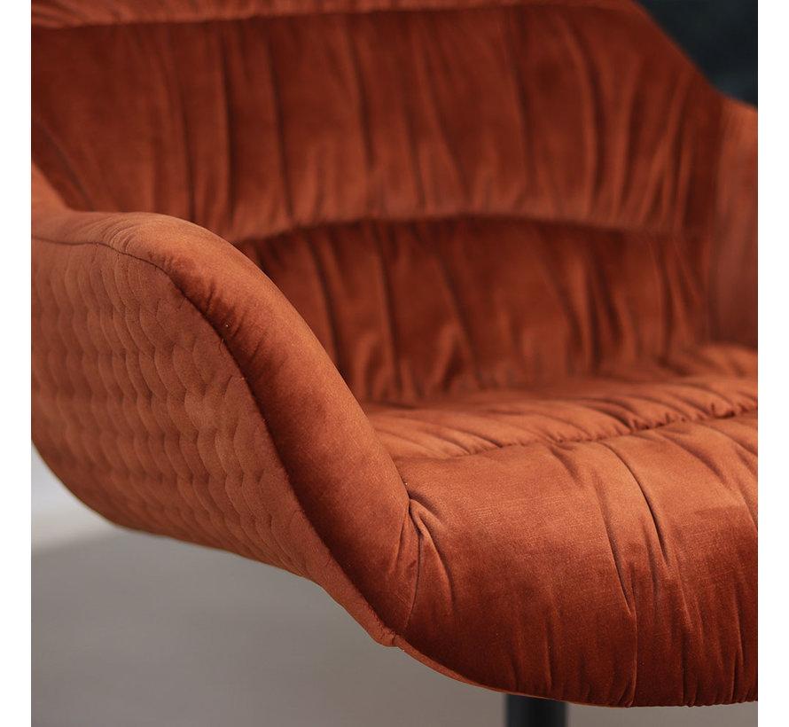 Moderne velvet fauteuil Lizzy draaibaar koper