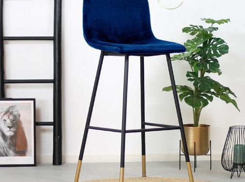 Bronx71 Velvet barkruk Mikky blauw 68 -79 cm