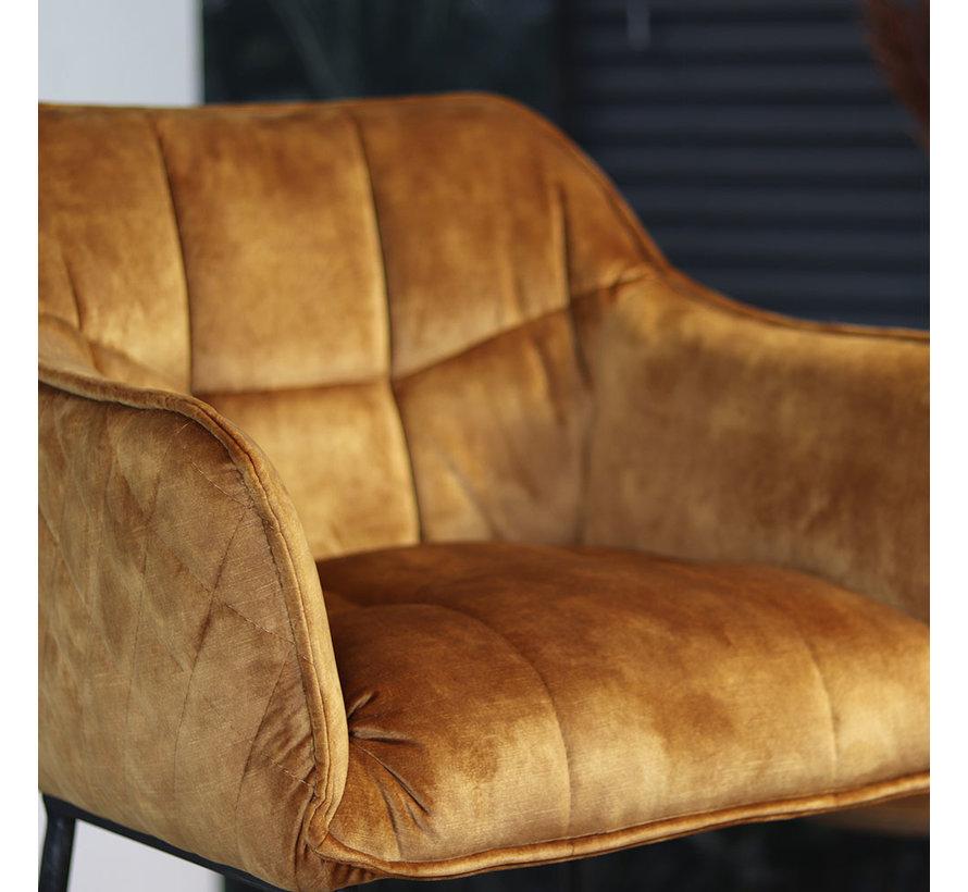 Moderne velvet barkruk Jayron oker geel/cognac bruin 82 cm