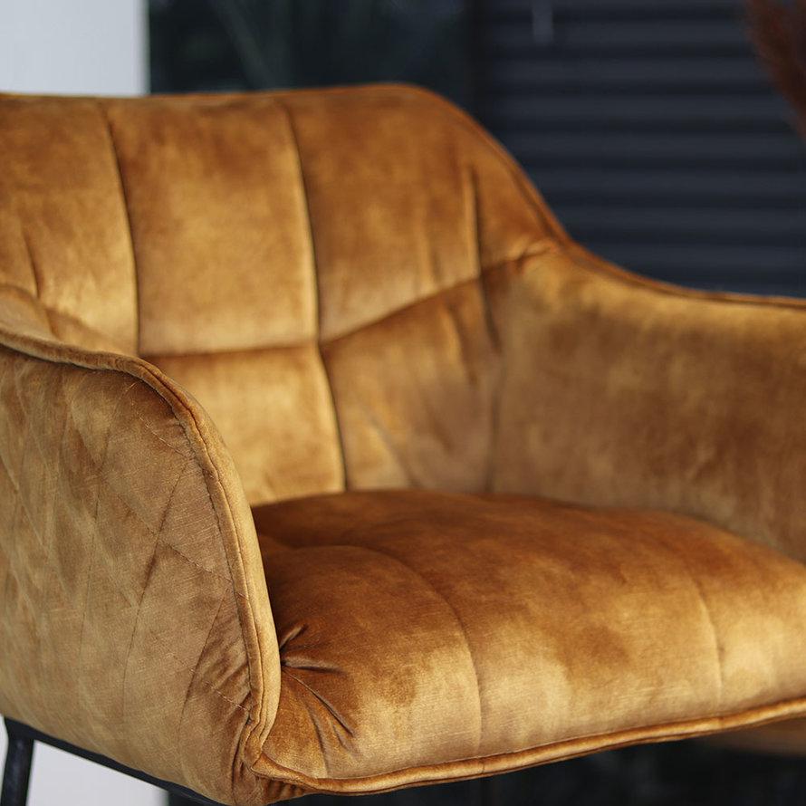 Velvet barkruk Jayron oker geel/cognac bruin 82 cm