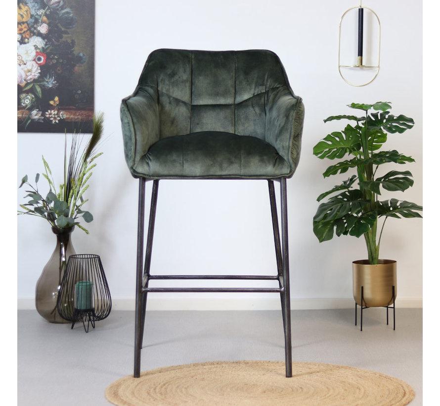 Moderne velvet barkruk Jaxon groen 82 cm