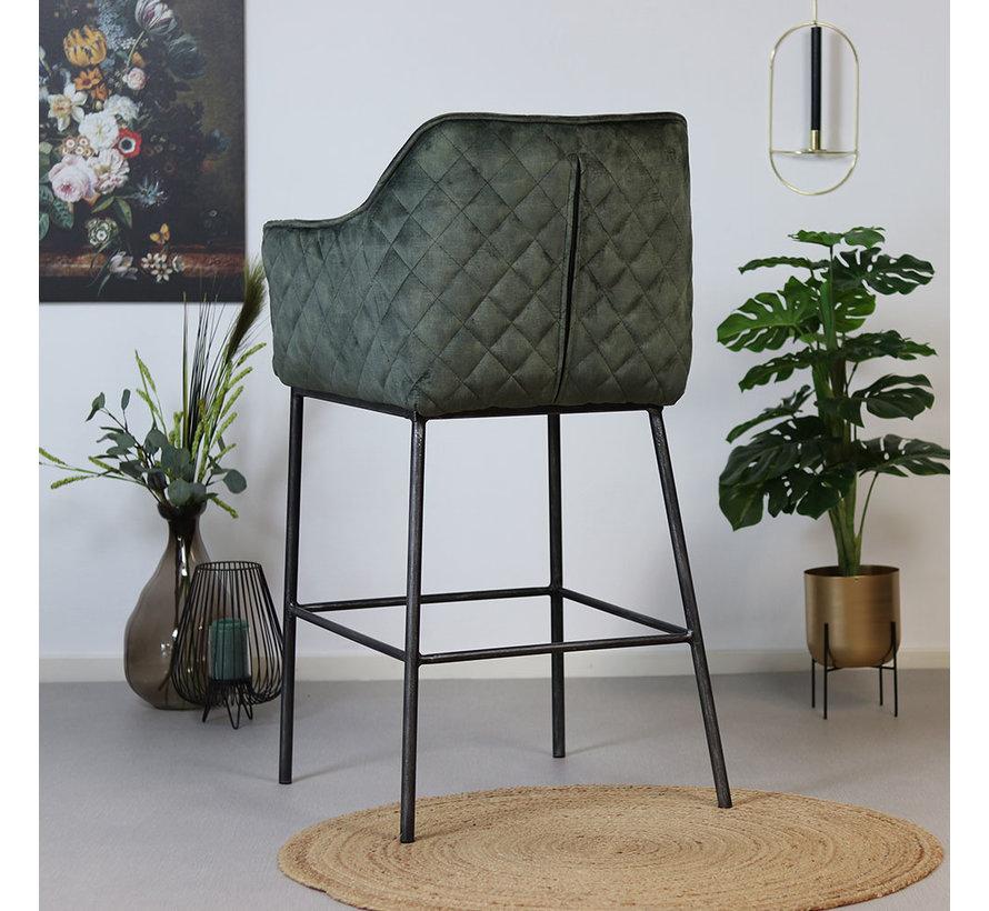 Moderne velvet barkruk Jayron groen 82 cm