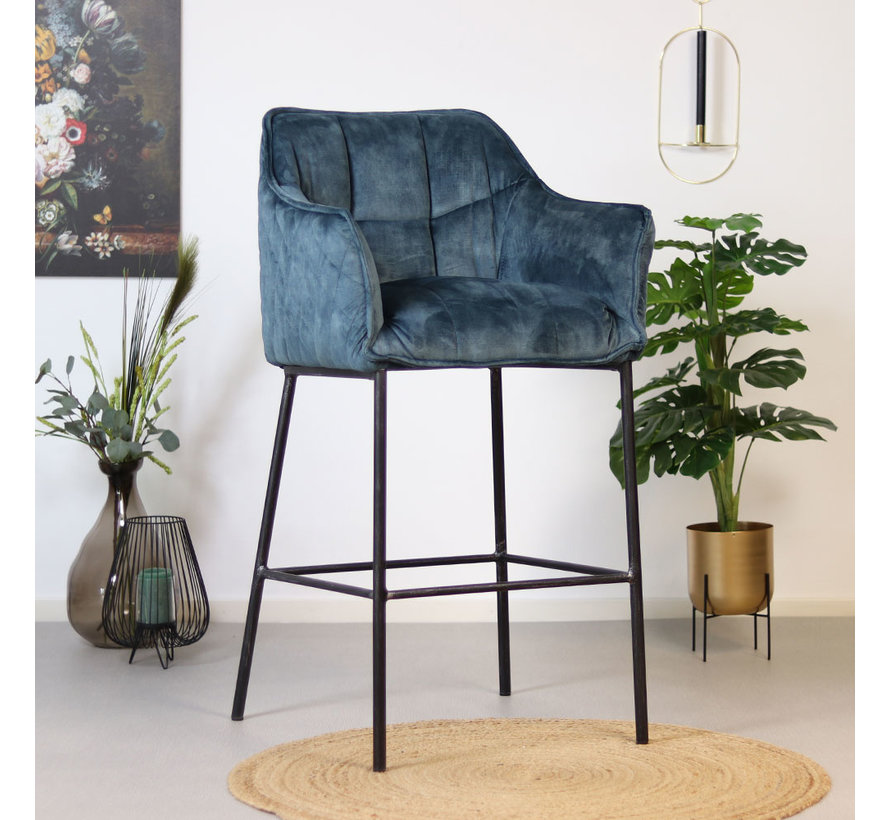Velvet barkruk Jayron blauw 82 cm