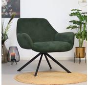 Bronx71 Moderne fauteuil Emily ribstof groen