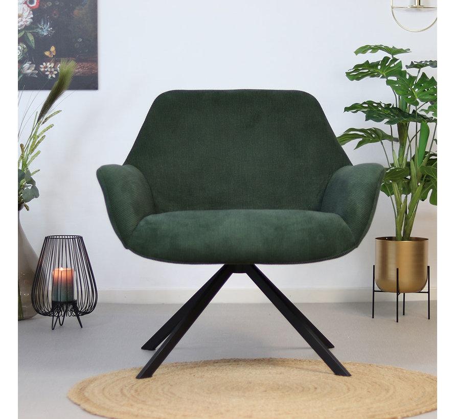 Moderne fauteuil Emily Ribstof groen