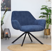 Bronx71 Moderne fauteuil Emily ribstof blauw
