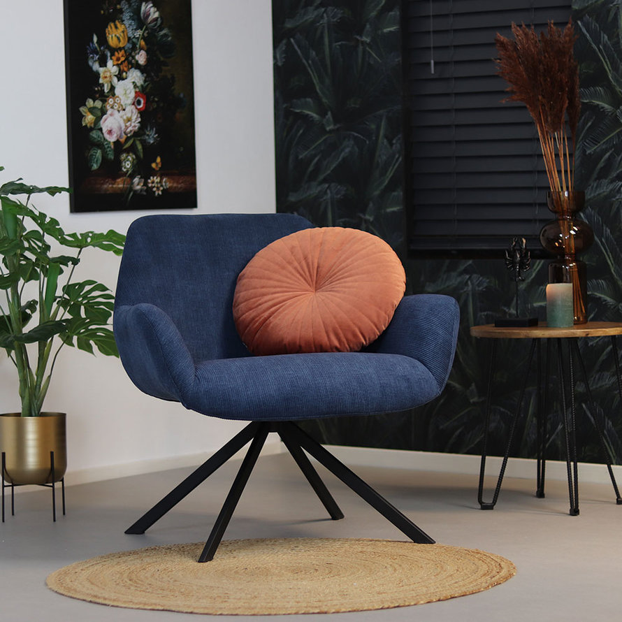 Fauteuil Emily ribstof blauw