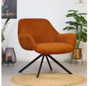 Bronx71 Moderne fauteuil Emily ribstof koper