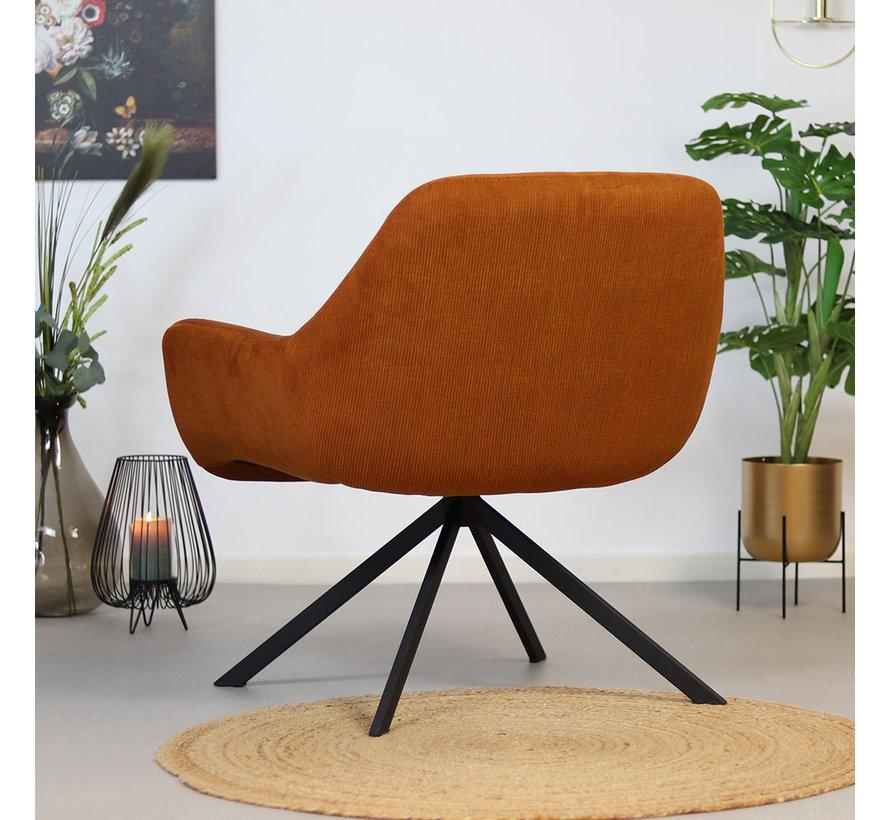 Moderne fauteuil Emily ribstof koper