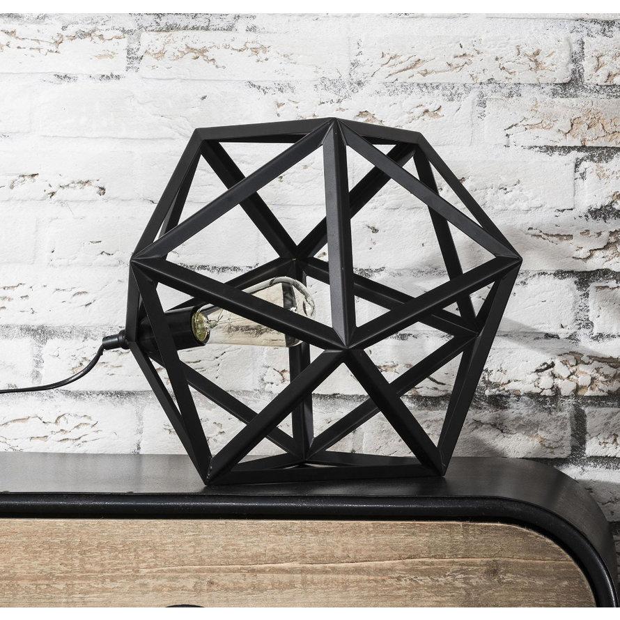 Industriële tafellamp Jase zwart metaal