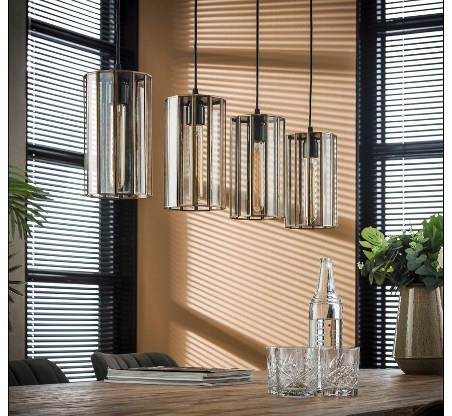 Industriële hanglamp Abby 4-lichts rond brons