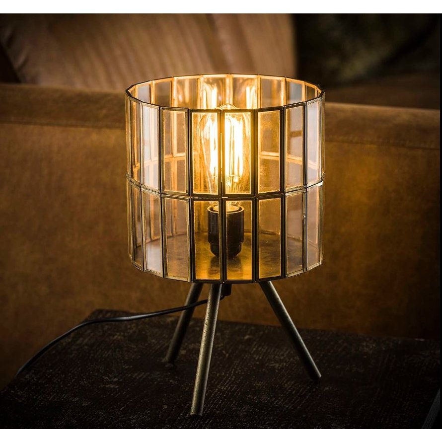 Industriële tafellamp Abby tripod brons