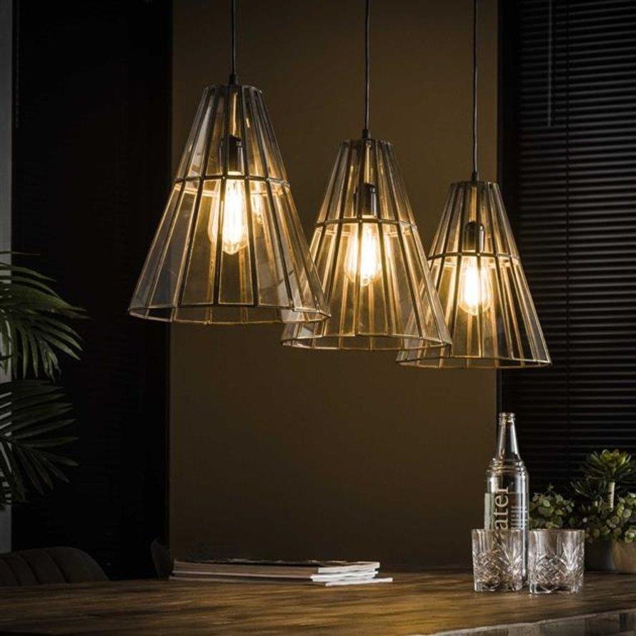 Industriële hanglamp Abby 3-lichts kegel brons