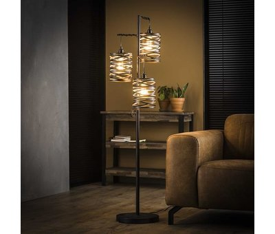 Industriële vloerlamp Sofie 3-lichts zwart