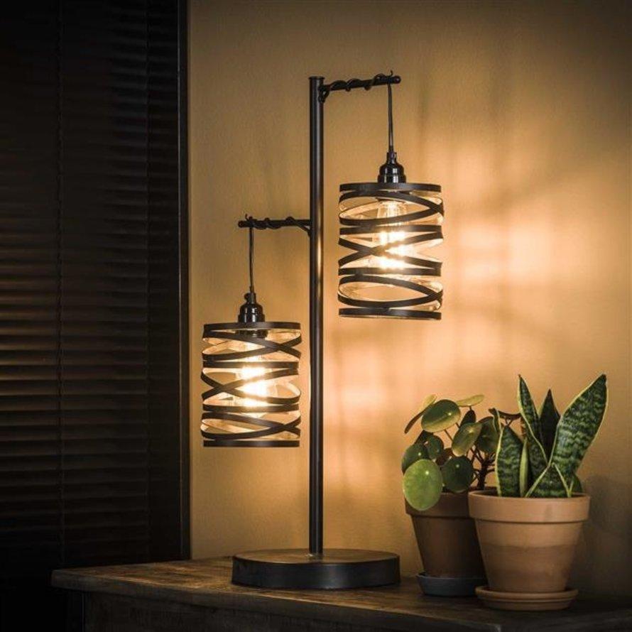 Industriële tafellamp Sofie 2-lichts zwart