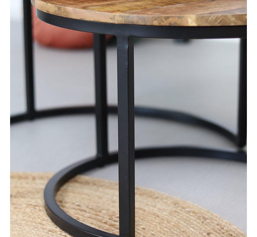 Industriële salontafel rond Laura mangohout set van 2  Ø70