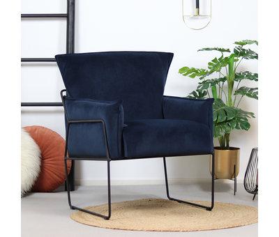 Bronx71 Moderne velvet fauteuil Lasse blauw