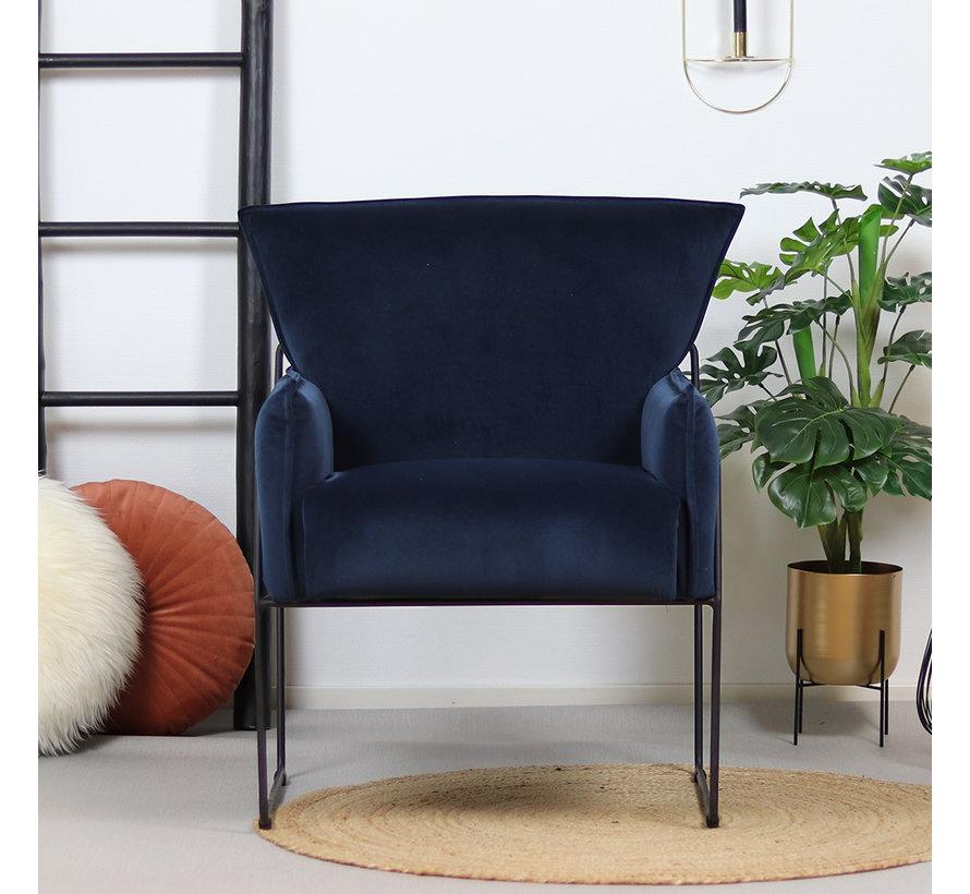 Moderne velvet fauteuil Lasse blauw