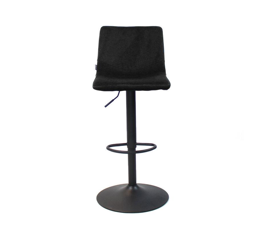 Velvet barkruk Frenkie zwart 59-76 cm
