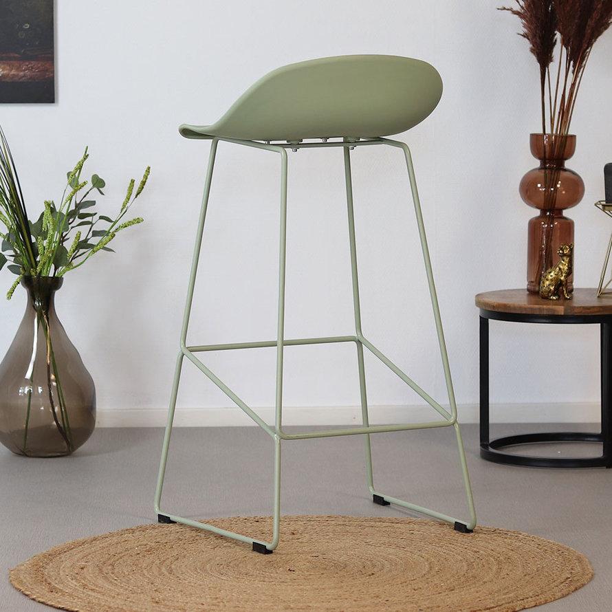 Barkruk Ellen groen Scandinavisch design 76 cm