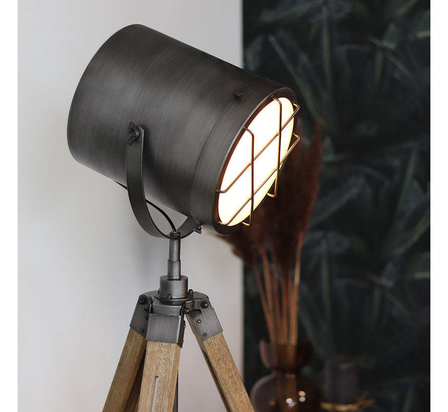 Industriële vloerlamp Berlin hout metaal