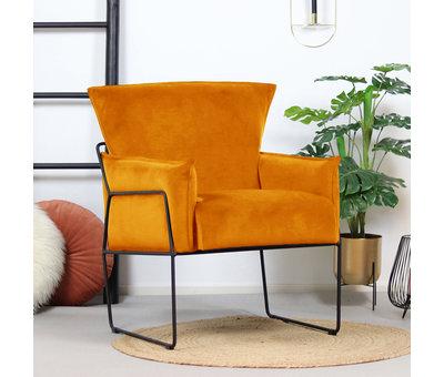Bronx71 Moderne velvet fauteuil Lasse oker geel