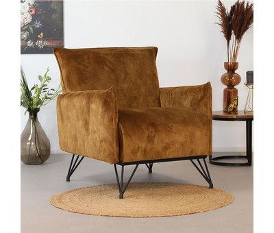 Bronx71 Moderne fauteuil Mika luxury cognac/bruin velvet