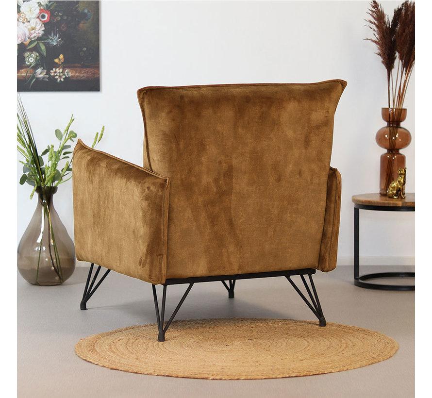 Velvet fauteuil Mika cognac/bruin