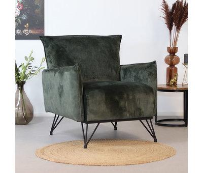 Bronx71 Velvet fauteuil Mika groen