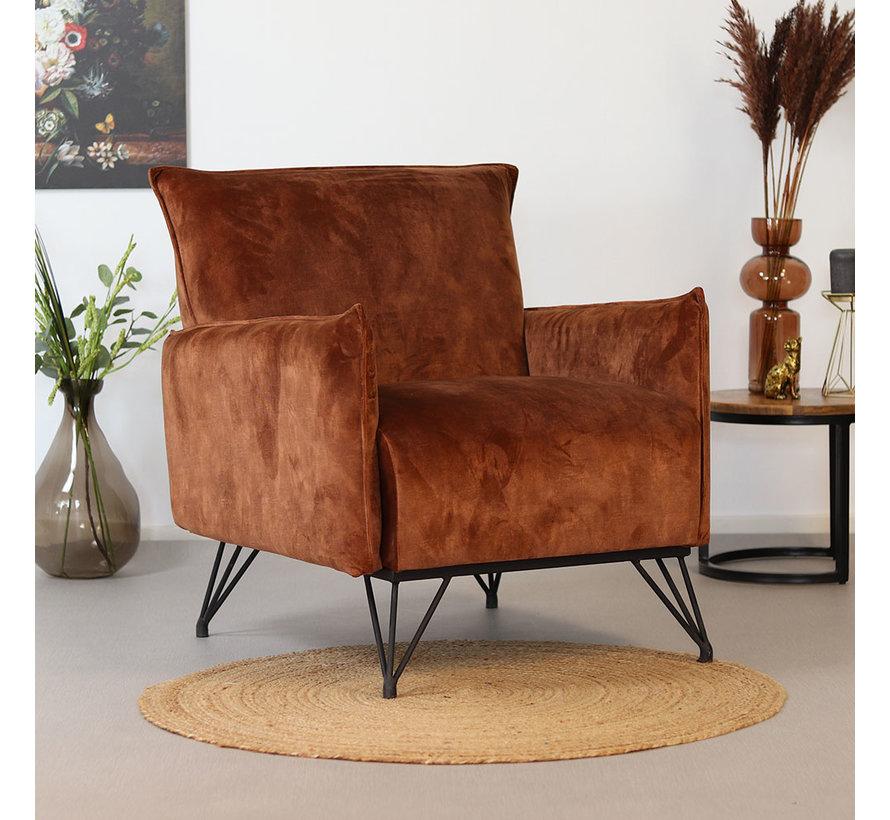 Moderne fauteuil Mika luxury roest velvet