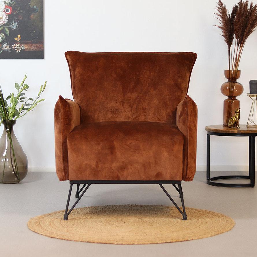 Velvet fauteuil Mika koper