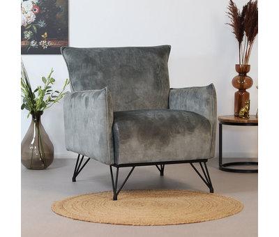 Bronx71 Moderne fauteuil Mika luxury velvet grijs