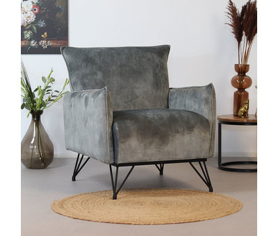 Bronx71 Velvet fauteuil Mika grijs