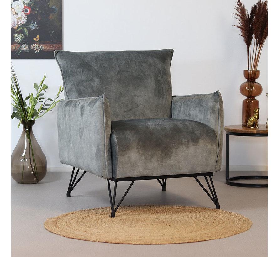 Velvet fauteuil Mika grijs