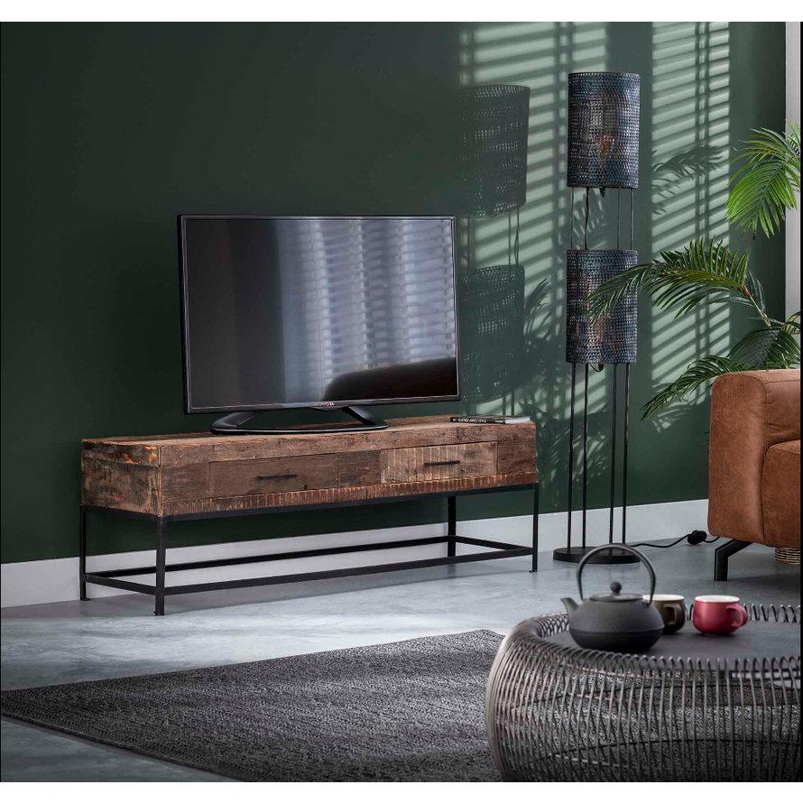 Industrieel tv-meubel Rense hout metaal