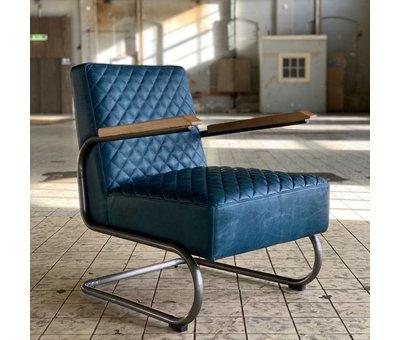 Bronx71 Industriële fauteuil Miley blauw leer