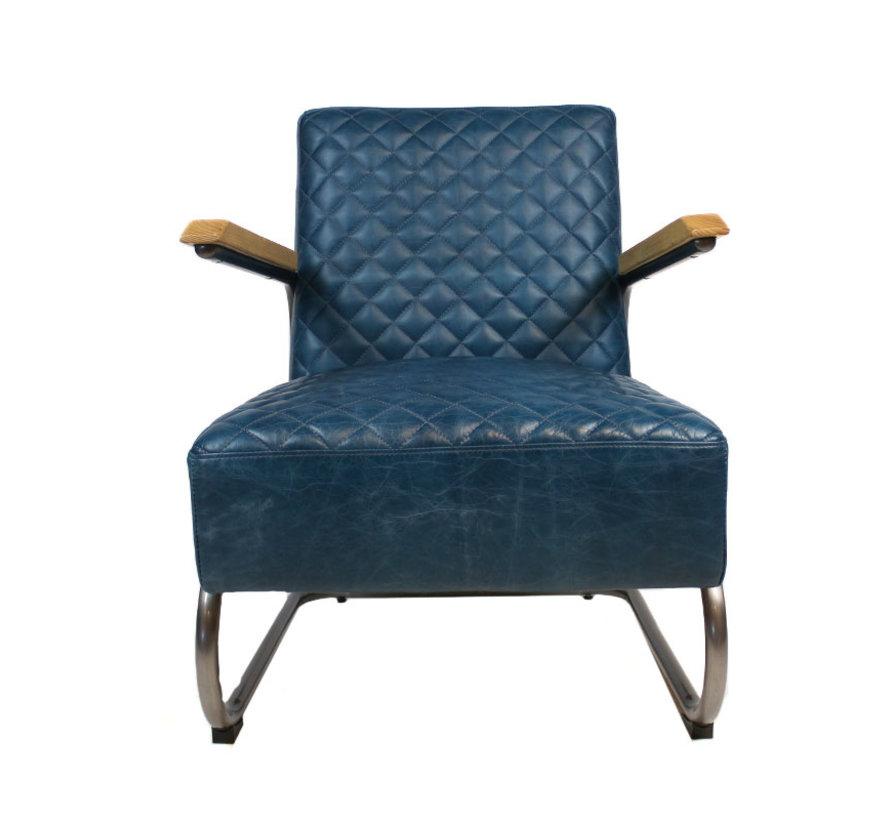 Industriële fauteuil Miley blauw leer