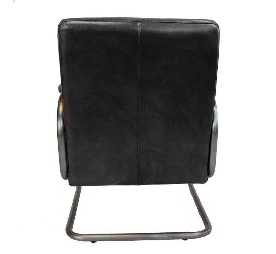Industriële fauteuil Miley zwart leer