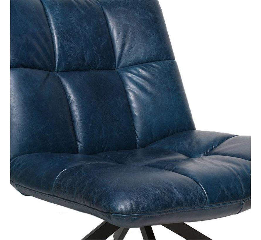 Industriële fauteuil Club blauw leer