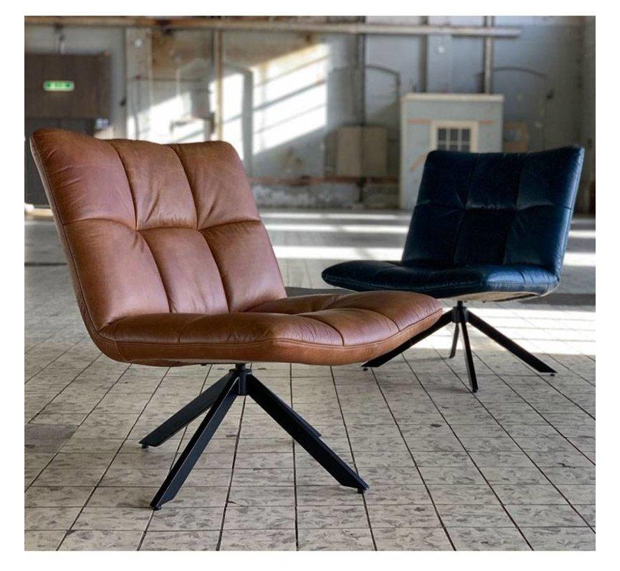 Industriële fauteuil Club cognac leer