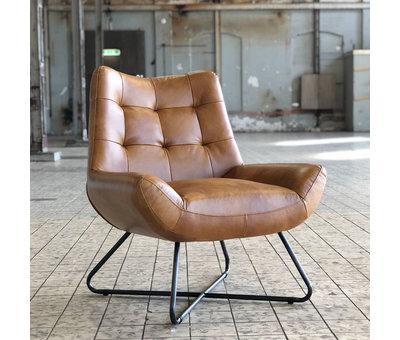 Bronx71 Industriële fauteuil Cole cognac leer